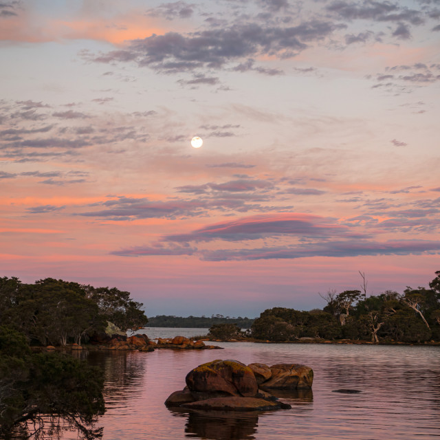 """""""Moonrise at The Cove"""" stock image"""