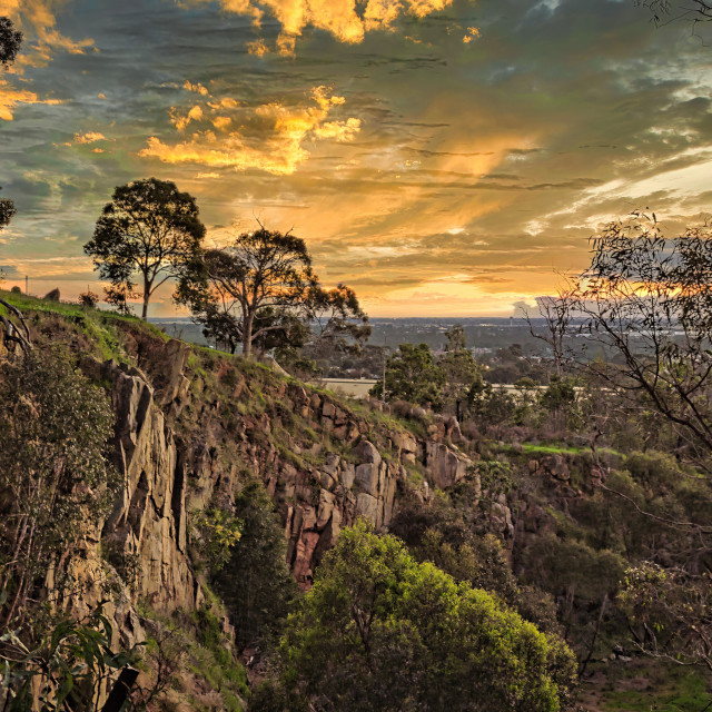 """""""Sunset Over Quarry Cliff"""" stock image"""