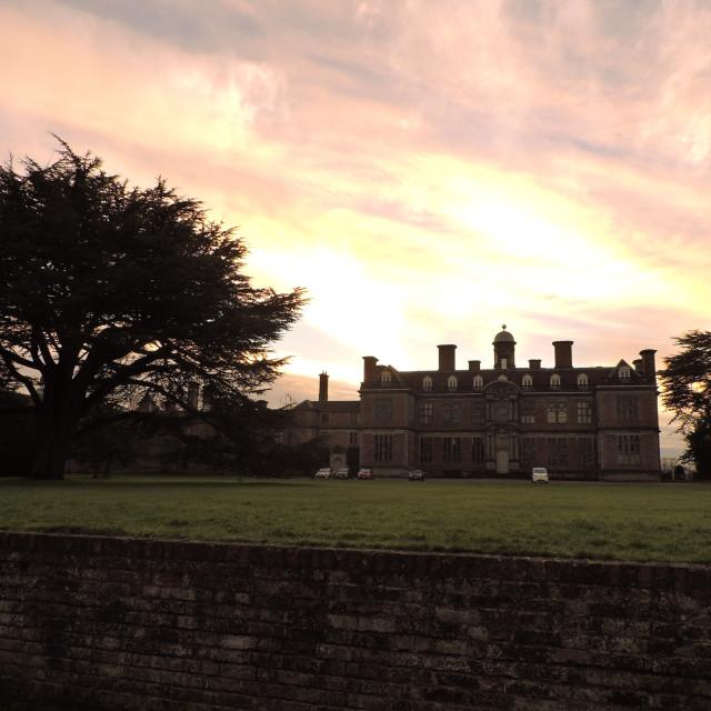 """Evening sunset Sudbury Hall Derbyshire December 2020"" stock image"