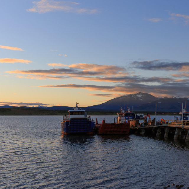 """Puerto Natales pier at dusk, Patagonia, Chile"" stock image"
