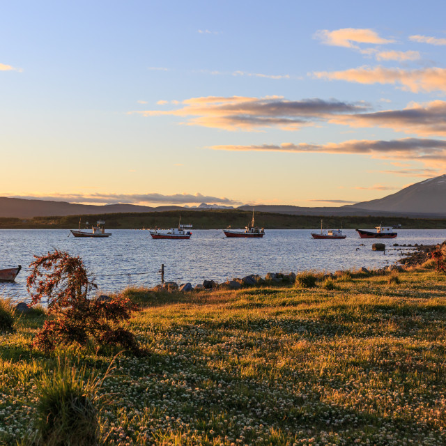 """Puerto Natales waterfront, Patagonia, Chile"" stock image"
