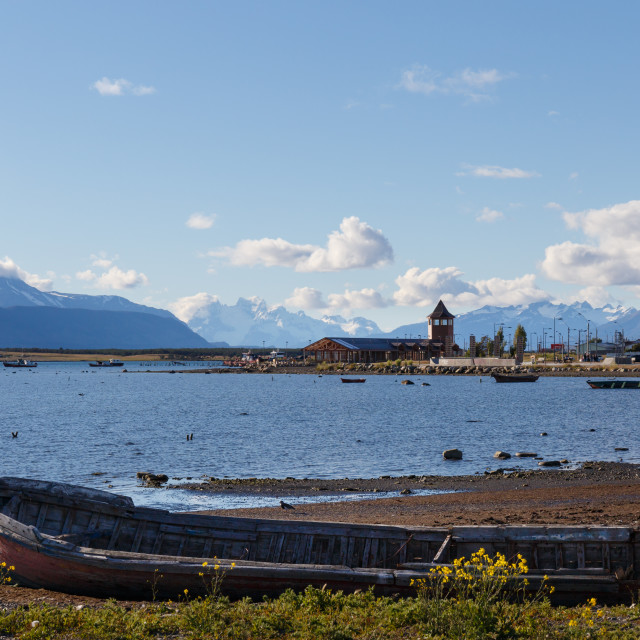 """Puerto Natales view from the waterfront in the evening sun, Patagonia, Chile"" stock image"