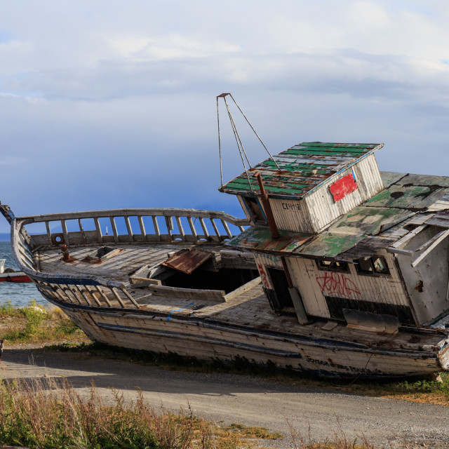 """Old boat, Puerto Natales, Patagonia, Chile"" stock image"