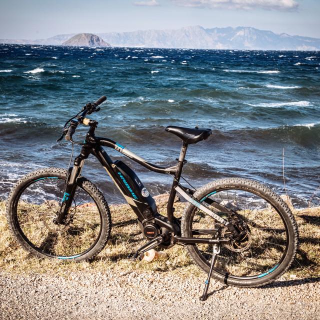 """Bicycle, e-Bike, Mountain Bike at Nisyros, Insel der Dodekanes"" stock image"