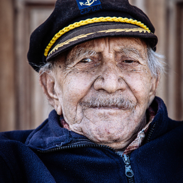 """""""Portrait of the old Captain, Nisyros, Insel der Dodekanes"""" stock image"""