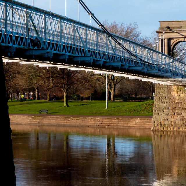 """Wilford Suspension Bridge"" stock image"