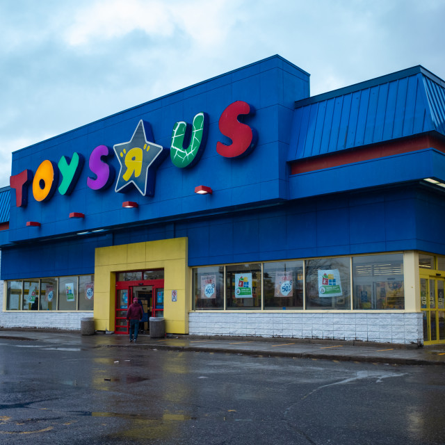 """""""Toys """"R"""" Us Store on rainy day in Ottawa, Canada"""" stock image"""