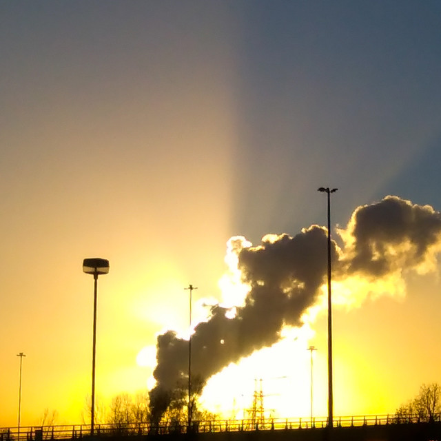 """""""Power Station plume at sunset"""" stock image"""