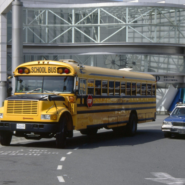"""""""School bus and police car"""" stock image"""