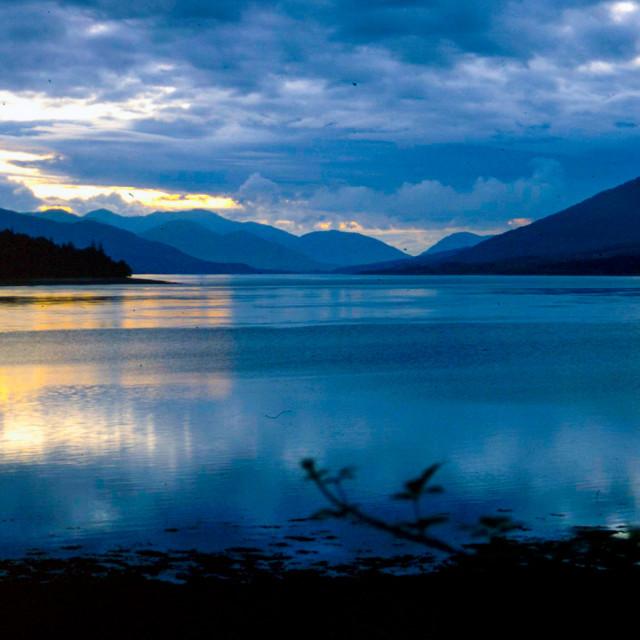 """Scottish loch sunset"" stock image"