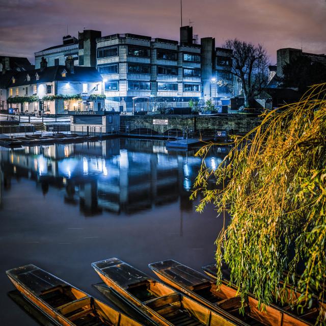 """Silver Street at dawn, Cambridge UK."" stock image"