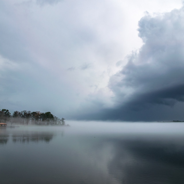 """""""Storm Front Blowing in Over Lake"""" stock image"""