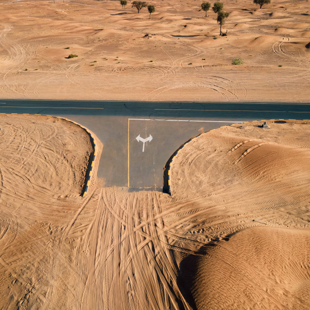 """""""Empty crossroad in the UAE desert aerial view"""" stock image"""
