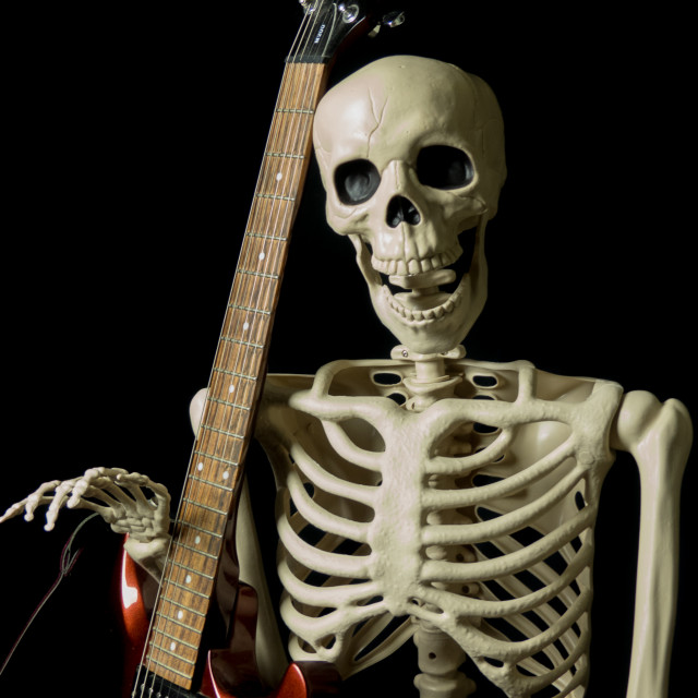 """Skeleton and guitar"" stock image"