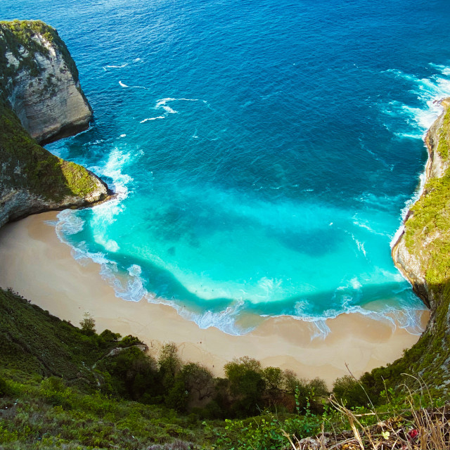 """Aerial shot of Kelingking Beach, Nusa Penida Island (Indonesia)"" stock image"