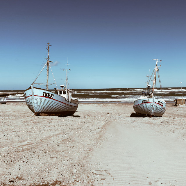 """Trawlers on the Danish west coast"" stock image"