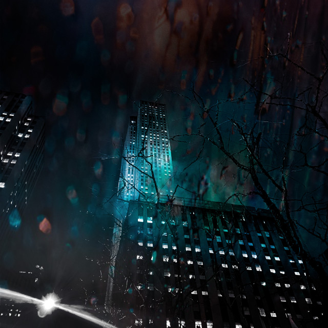 """Spooky edit of downtown Manhattan by night"" stock image"