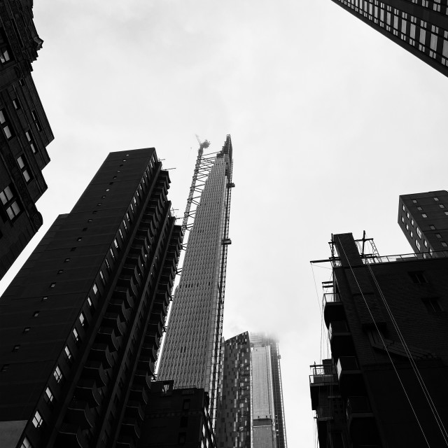 """Black and white look-up, Manhattan"" stock image"