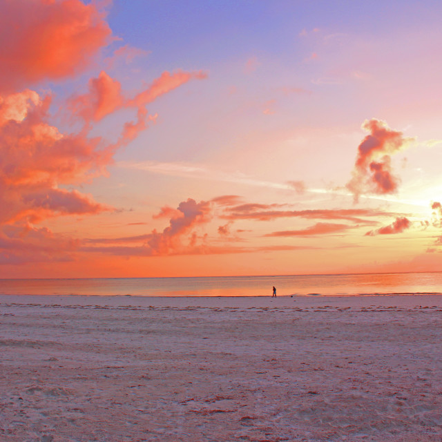 """Sunrise on Galu Beach, Diani, Kenya"" stock image"