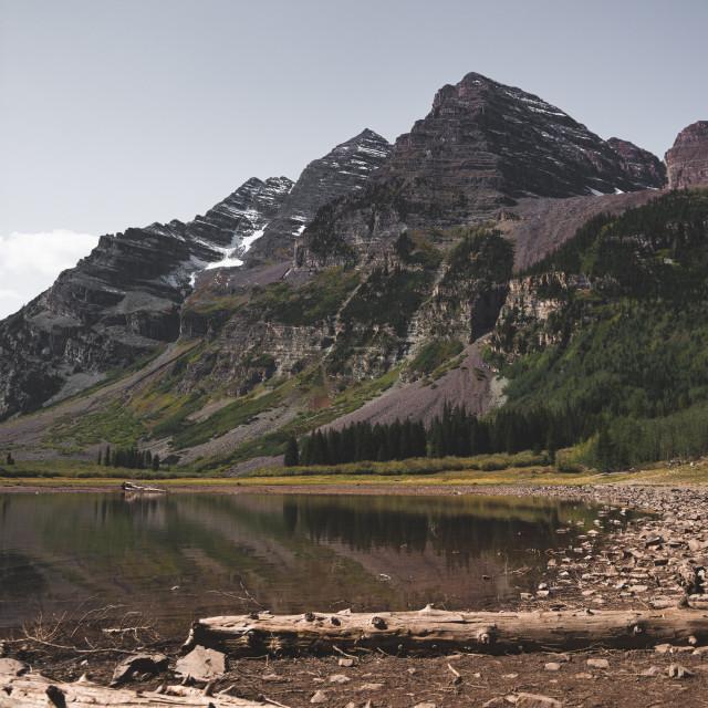 """Lake View of Maroon Bells"" stock image"