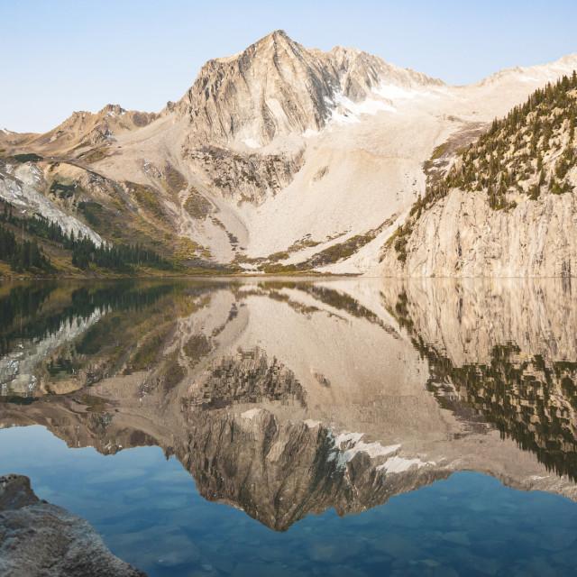"""Snowmass Lake Mirror"" stock image"