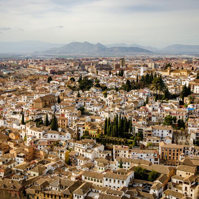 """View of Granada from the Alcazaba in the Alhambra complex, Granada, Spain"" stock image"