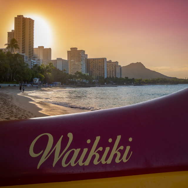 """Hawaii Beach Outrigger Canoe"" stock image"