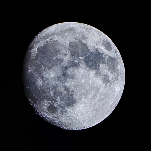 """Waxing Gibbous Moon, 95% visable."" stock image"