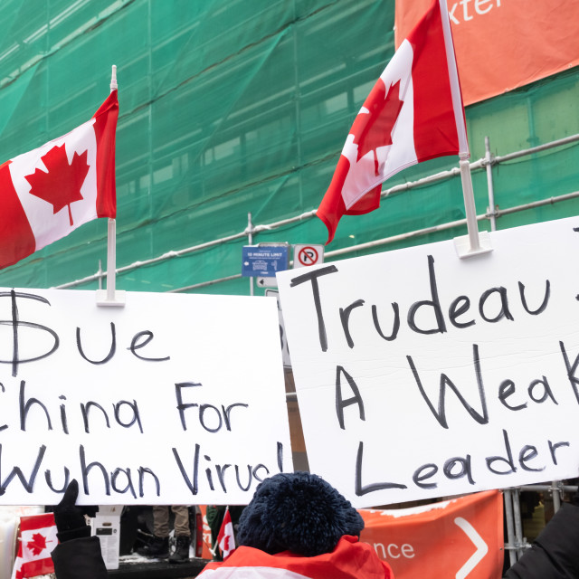 """Anti-lockdown Protester Denounces China and Justin Trudeau"" stock image"