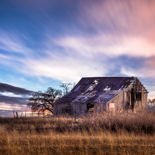 """""""Old Farmhouse at Sunset In The Countryside"""" stock image"""
