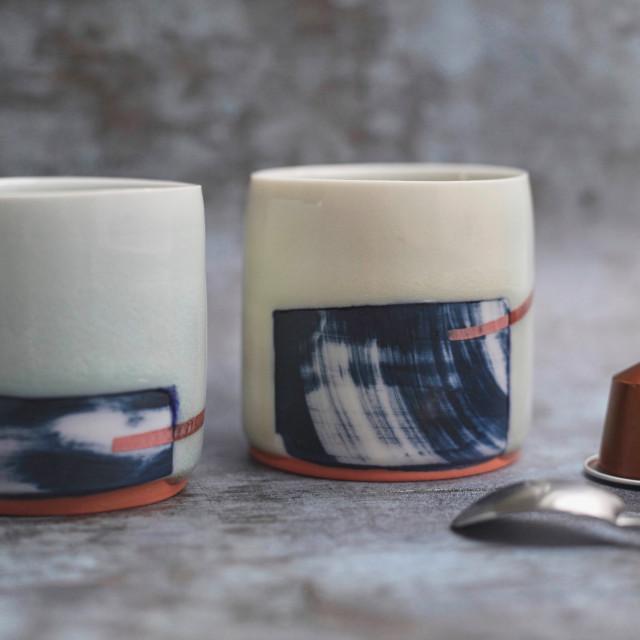 """Porcelain ceramics espresso cups"" stock image"