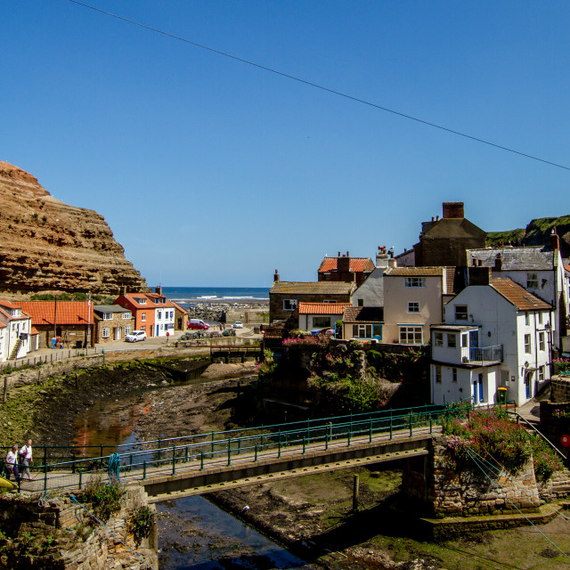 """Staithes Footbridge over Staithes Beck, Yorkshire, England."" stock image"