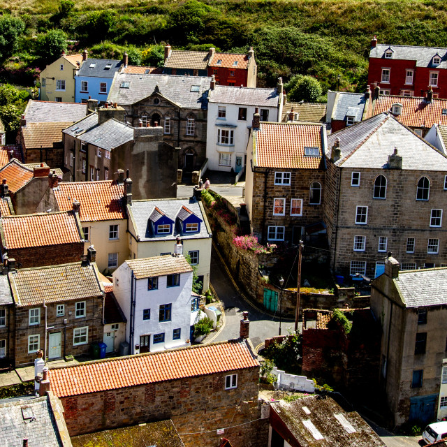 """Fishing Village Rooftops, Staithes, Yorkshire, England."" stock image"