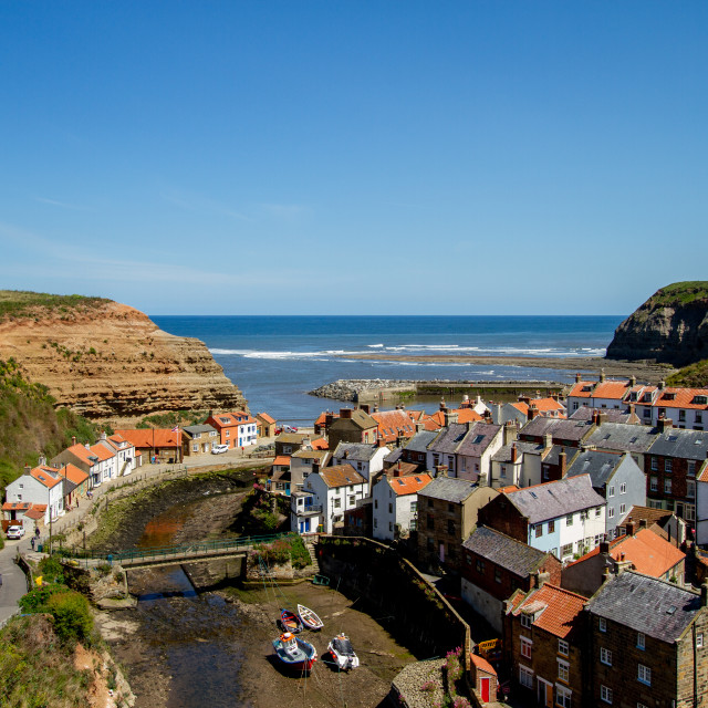 """View over Staithes, Northside and Staithes Beck- Cow Bar Nab, Harbour and North Sea in the Background. Yorkshire, England."" stock image"