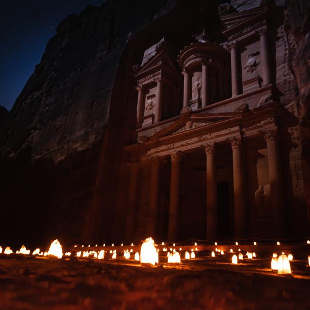 """Petra by night"" stock image"