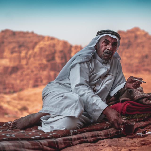 """Beduin in the desert"" stock image"