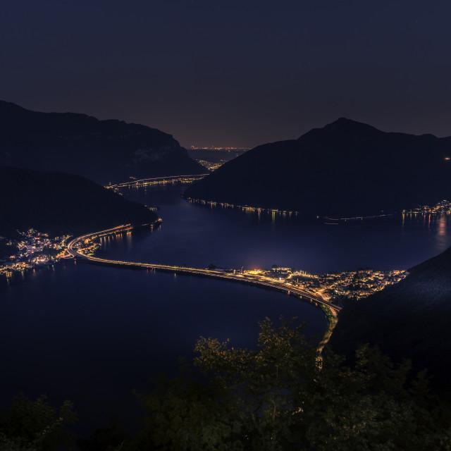 """""""Lugano by night"""" stock image"""