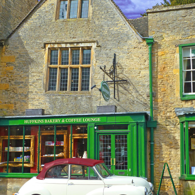 """""""Morris Minor Stow on the Wold Cotswolds England"""" stock image"""