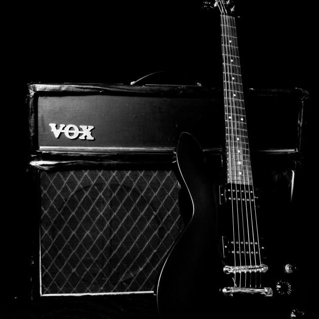 """VOX AC30 Guitar Amp and guitar"" stock image"