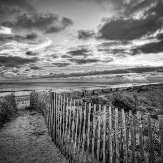 """Duxbury beach sunrise BW"" stock image"