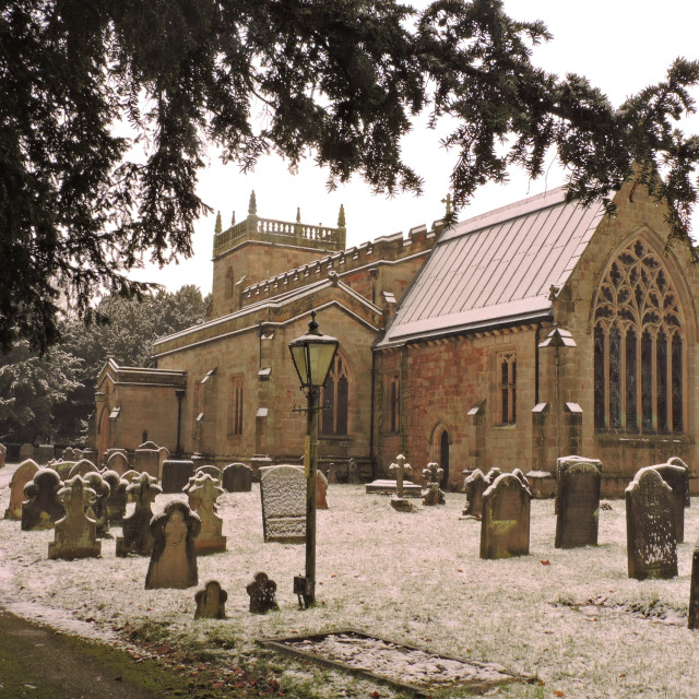 """All Saints Church Snow Scene Derbyshire Dales December 2020"" stock image"