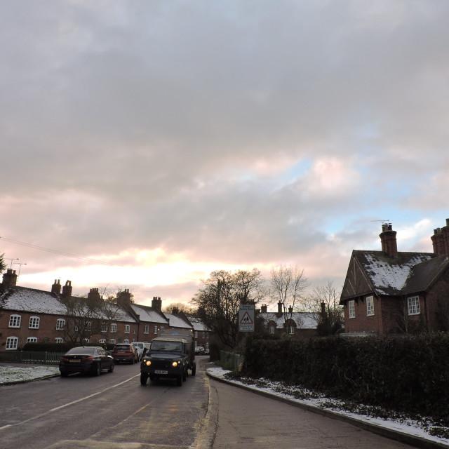 """Sudbury Village Snow Scene Derbyshire Dales December 2020"" stock image"