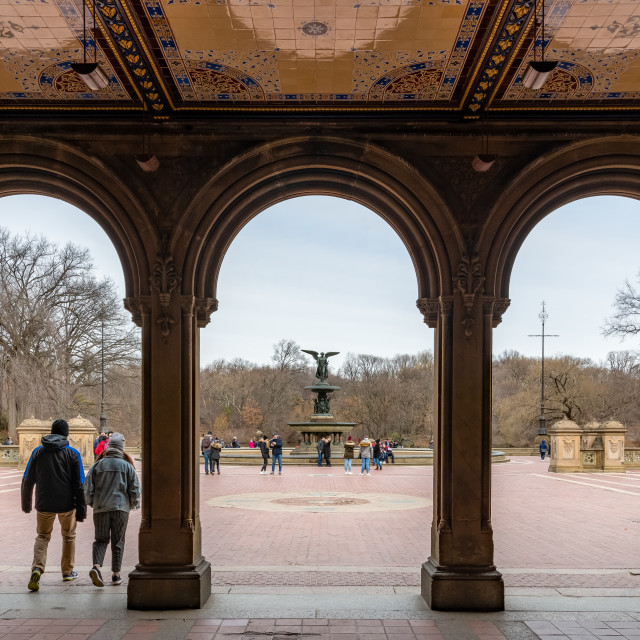 """Bethesda fountain through the arches // Central Park, New York"" stock image"