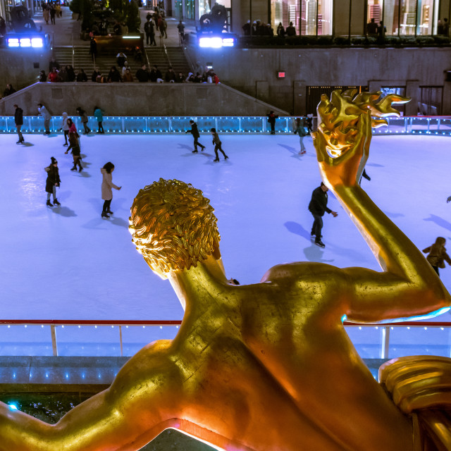 """Prometheus watches over the ice rink at Rockefeller Plaza // Man"" stock image"