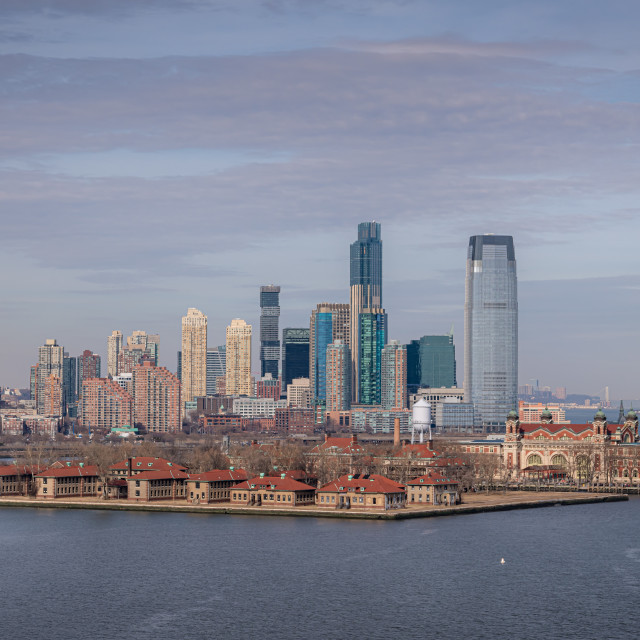 """Ellis Island and Jersey City over the Hudson // Liberty Island,"" stock image"
