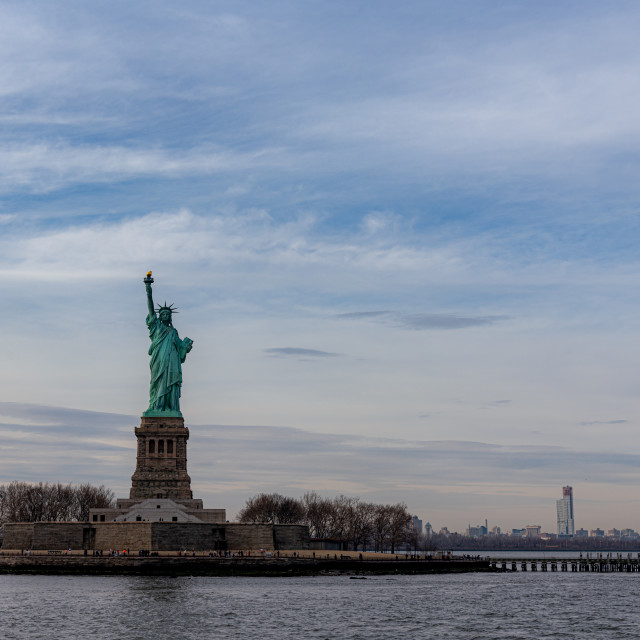 """Statue of Liberty from New York Harbour // Manhattan, New York"" stock image"
