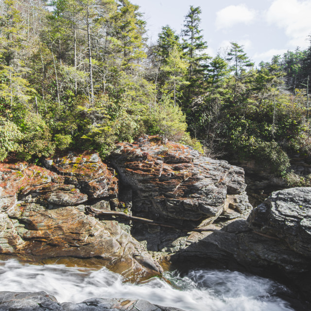 """""""Linville Falls Turn"""" stock image"""