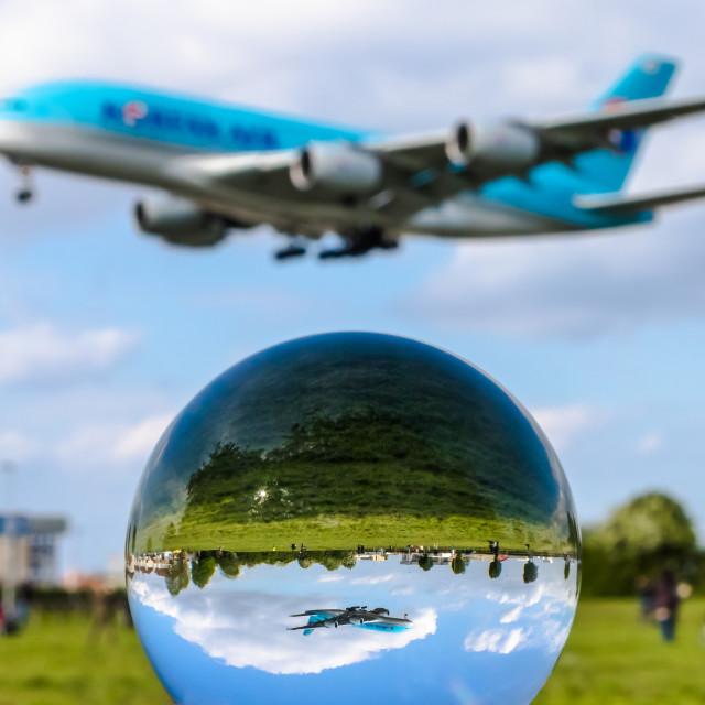 """Airbus A380 Korean Air HL7619"" stock image"