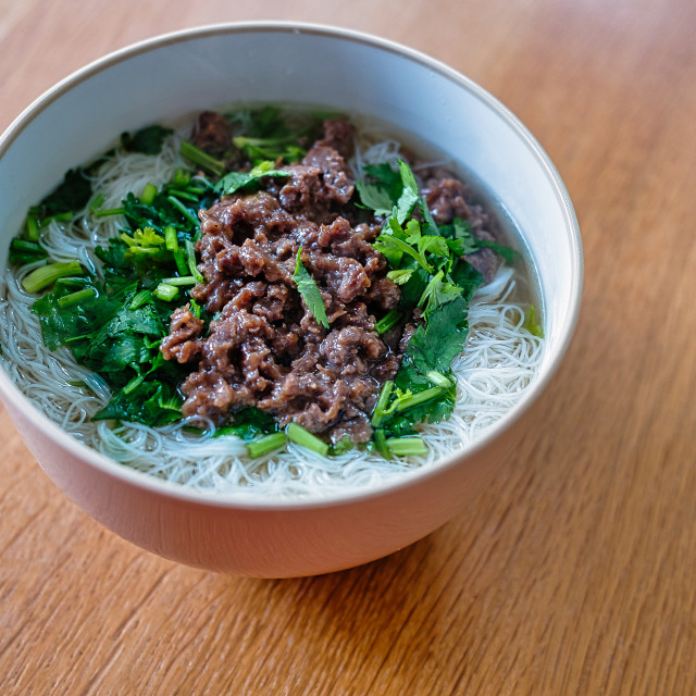 """Beef Rice Noodle Soup"" stock image"