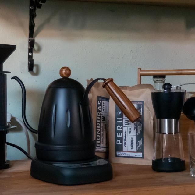 """Coffee making equipment"" stock image"